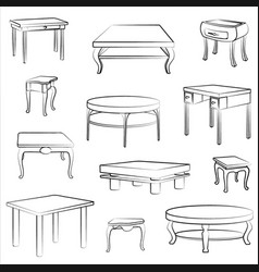 furniture set interior doodle furnishing tables vector image vector image