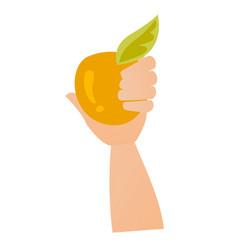 Hand holding an apple cartoon vector