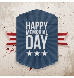 Happy memorial day patriotic poster and ribbon vector