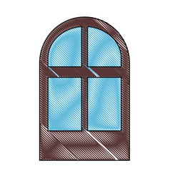 isolated brown window vector image