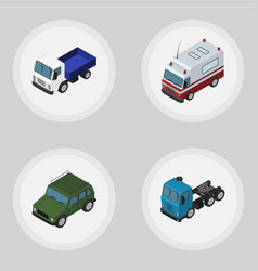 Isometric car set of truck armored first-aid and vector