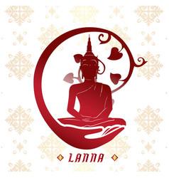 Lanna buddha statue white background image vector