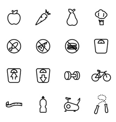 line diet icon set vector image vector image