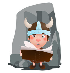 little viking have a book in the hand cartoon vector image
