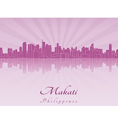 Makati skyline in purple radiant orchid vector image vector image