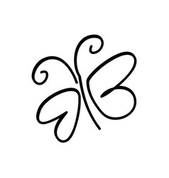 Monochrome contour with sketch butterfly vector