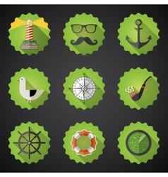 Navy Sailor Marine Flat Icon Set Include fish vector image vector image