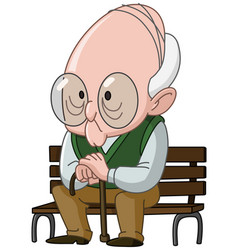 Old man on bench vector