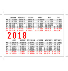 pocket calendar 2018 year vector image