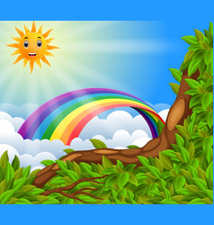 rainbow over the forest vector image