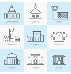 Set of government buildings icons vector image vector image