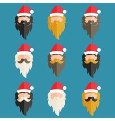 Set of hipster flat design of Santa Claus vector image vector image