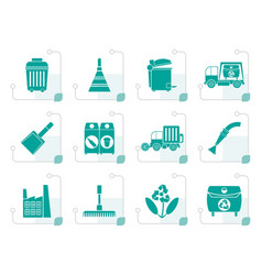 Stylized cleaning industry and environment icons vector