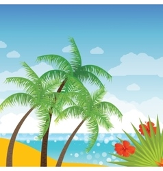 Summer holidays background with palm leaves vector image vector image
