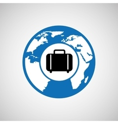 traveling world suitcase design graphic vector image