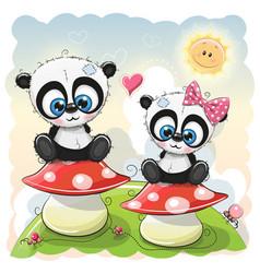 two cartoon pandas are sitting on mushrooms vector image