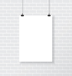 White poster on brick wall vector