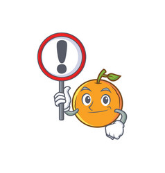 With sign orange fruit cartoon character vector