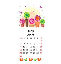 Cute 2013 picture calendar vector