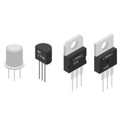 Isometric electronic components transistors vector