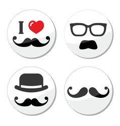 I love mustache moustache icons set vector image
