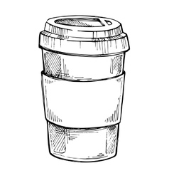 Take out coffee cup freehand pencil drawing vector
