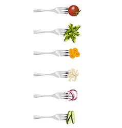 Forks and vegetables vector
