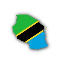 Map and flag of tanzania vector