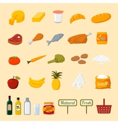 Supermarket food selection icons vector image