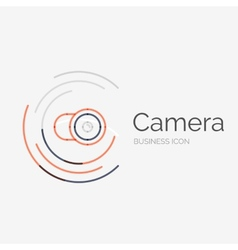 Thin line neat design logo camera concept vector image