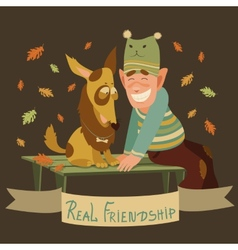 Man and dog friendship vector image