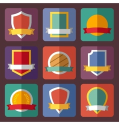 Coats of arms shields ribbons flat vector