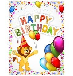 Birthday background with happy lion vector