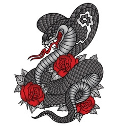 Cobra roses tattoo graphic vector