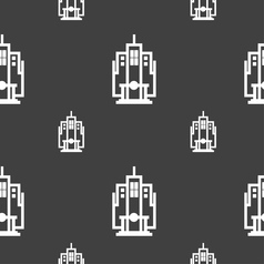 Skyscraper icon sign seamless pattern on a gray vector