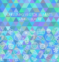 Christmas seamless border multicolored triangular vector