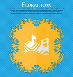 Musical note music ringtone floral flat design on vector