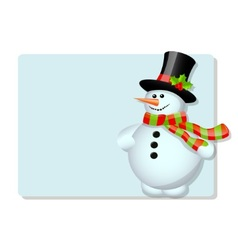 Blue card and snowman vector image