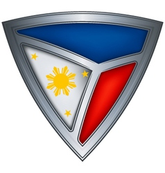 Steel shield with flag philippines vector
