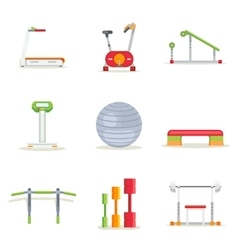 Fitness gym exercise equipment for workout in flat vector
