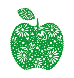 Decorative ornamental green apple with leaf vector