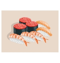 Sushi with caviar salmon and shrimp vector