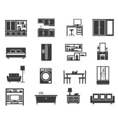 Concept isolated furniture icon set vector