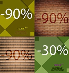 90 30 icon set of percent discount on abstract vector