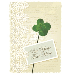romantic card with clover vector image