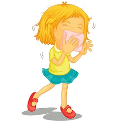 A little girl with colds vector image vector image
