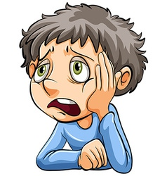 A sad boy vector image