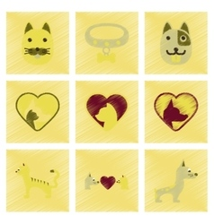 Assembly flat shading style icons dogs cats pets vector
