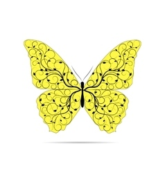Beautiful yellow butterfly with floral pattern vector image vector image
