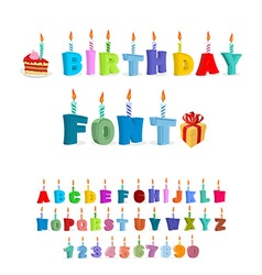 Birthday abc holiday font for postcards letters vector